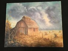 16x20 Canvas Painting Of Barn. Signed By Local Artist