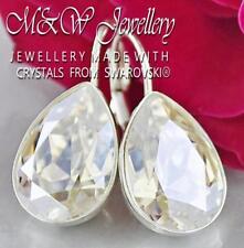 925 Silver Earrings Made With Swarovski® 14mm PEAR Fancy Stone Moonlight