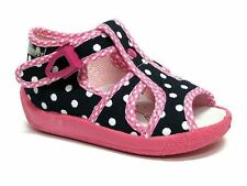 Baby Toddler Girls Canvas Shoes Kids Sandals - White Dots (UK 8 / EU 25)