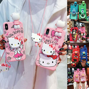 For iPhone 12 Pro Max 11 X S10 Minnie Disney KT Cat Doll Strap Case Holder Cover