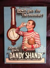 1910 Dandy Shandy Drink Rugby Player Advertisement Sign