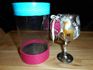 LOLITA MINI WINE GLASS HAND PAINTED CHRISTMAS ORNAMENT VISIONS OF REINDEER NEW
