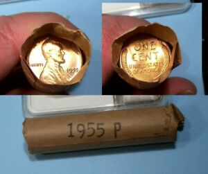1955-P OBW ROLL WHEAT CENTS BOWSER SUNNYVALE CA TELLER FRESH! #32-21