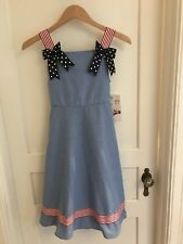 (D70) bonnie jean dress size 12 Girls NWT American Flag Bows Patriotic 4th July