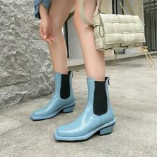 Hot Trendy Design Retro Womens Sqaure Toes Low Heel Patent Leather Ankle Boots