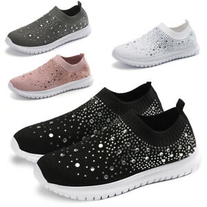 Womens Sparkly Glitter Sneakers Ladies Casual Slip on Trainers Sock Shoes Size