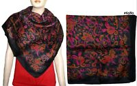 100% Pure Silk Indian Hand Weaved Square Scarf Wrap Classic Design Printed 6580