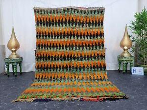 """Moroccan Handmade Vintage Rug 5'x7'6"""" Berber Geometric Orange Black Wool Carpet"""