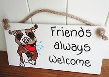 Shabby Chic Dog Friends Always Welcome Staffie Birthday Christmas Friend Gift