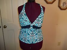 MERONA LADIES SIZE XL TANKINI TOP SWIMWEAR TOP ONLY FLORAL TEAL NAVY BATHING SUI
