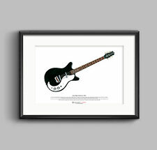Jimmy Page's Danelectro 3021 ART POSTER A3 size