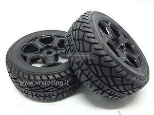 COPPIA RUOTE STRADALE COMPLETE ESAGONO 12mm 1:10 ON ROAD RALLY 2PCS 10546BK VRX