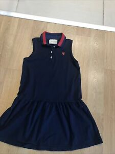 Gucci Age 8y Dark Blue Cotton Dress With Ribbed Sparkle Knit Collar