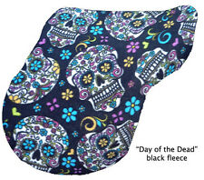 """BLACK DAY OF THE DEAD"" FLEECE  ENGLISH SADDLE COVER novelty DESIGNER print"