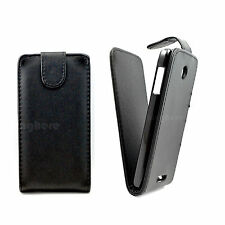 Black Magnetic Snap On Leather Case Flip Hard Cover Pouch Skin For Cell Phones