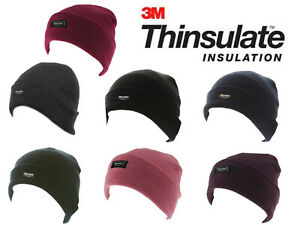 Mens Womens Thinsulate Beanie Hat Thermal Fleece Lined Knitted Winter Ski Cap