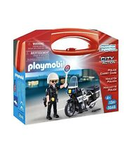 Playmobil Learning Toys City Action Police and Motorcycle Building Set w/Case