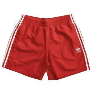 Adidas 3 Stripe Swim Shorts Size Large Lush Red [FM9876] 100% Polyester Lined