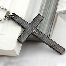 Cross Pendant Christian Jesus Religious Bible Verse Chain Fashion Stainless