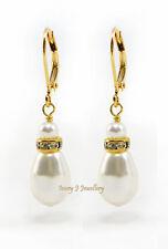 White Swarovski Pearl Drop Teardrop Earrings Gold Plate