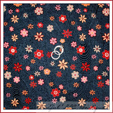 New listing BonEful Fabric Cotton Quilt Black Red Orange Pink Flower Small Fall Dot Nr Scrap