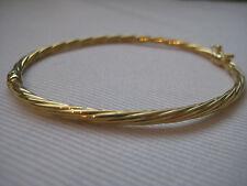 9 Ct Or Jaune 3mm finement entortillé ovale bracelet à charnière fabuleux