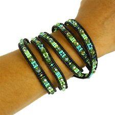 BR521-134 5 Wrap Turquoise Lime Crystal Bracelet Artisan Handmade Beads Glass