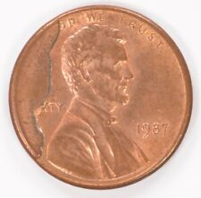 1c 1987 Lincoln Cent Large Cud Obverse BU Red/Brown