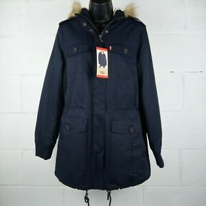 Levi's Strauss Parka Jacket Women Size M Faux Fur Hooded Navy