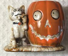 Yankee Candle Boney Bunch Cat Skeleton Votive Holder Pumpkin Halloween Decor New