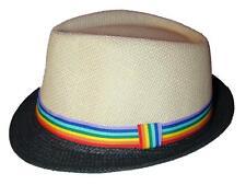 Gay Pride Fedora Hat Rainbow Ribbon Black Brim LGBTQ Parade March Resist