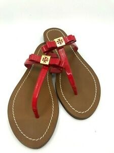 Tory Burch Leighanne Bow Red Saffiano Thong Leather Gold Logo Sandal US 5.5M$195