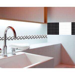 BLACK WHITE CHECKERED TILES Wall Decals Backsplash Room Decor Stickers Kitchen