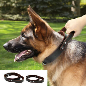 Leather Dog Collars with Handle Quick Control Training for Rottweiler Dobermans