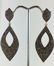 18K Gold Pave 4.5cts Diamond 925 Silver Dangle Earrings Vintage Style Jewelry