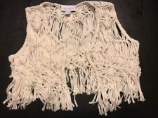 euc TCP Childrens Place Handmade Macrame Braid FRINGE VEST Snow White Girls L XL