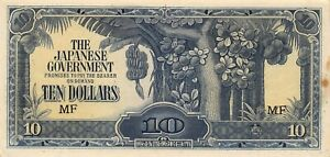 Malaya  $10  ND. 1942  Block MF  WWII Issue  Circulated Banknote LBP14
