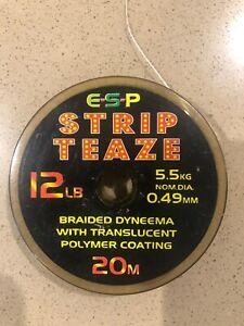 ESP Strip Teaze 12lb Test coated braid carp/barbel hooklinks 10m Left On Spool