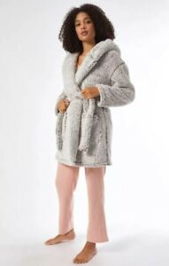 Dorothy Perkins Grey Ombre Robe Dressing Gown - Fast Delivery!