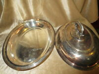 2 vintage covered serving dishes.  derby silver co & Codent  silver co.