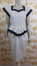 Sunshine Starshine Vintage Sz 8 Polka Dot Wiggle Peplum Dress Pin Up Rockabilly