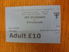 08/08/2012 Ticket: AFC Wimbledon v Portsmouth [Friendly] (creased). Thanks for v