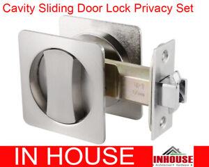 Sliding door Lock privacy lock square satin finish