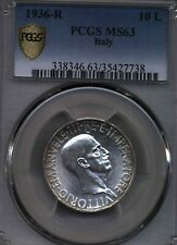 Italy 1936  10 Lire SILVER COIN KING VITTORIO EMANUELE III PCGS 63