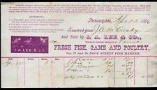 1879 I A Lee & Co Fresh Fish Game Poultry Philadelphia PA Vintage Letter Head