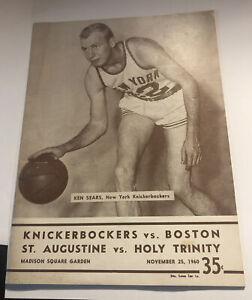 1960 NY Knicks vs Boston Celtics program Holy Cross Vs St Augustine