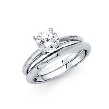Her 14k White Gold CZ Plain Solitaire Round Wedding Engagement Bridal Ring Band