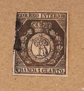 Sello Edifil 22, Escudo de Madrid, 1 cuarto, color negro bronce, Año 1853, usado