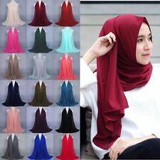 Women Plain Bubble Chiffon Islamic Muslim Hijab Lady Long Wrap Shawl Scarf Hot