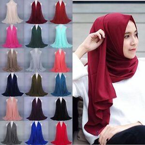 Maxi Chiffon Scarf Plain Kopftuch Schal Hijab Dupatta Sarong Kopf Schal Wickeln
